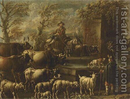 A drover on horseback watering his cattle at a fountain and shepherd with by (after) Philipp Peter Roos - Reproduction Oil Painting