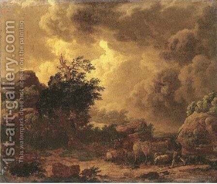 A stormy landscape with a herdsman on a rocky path by (attr.to) Loutherbourg, Philip James de - Reproduction Oil Painting