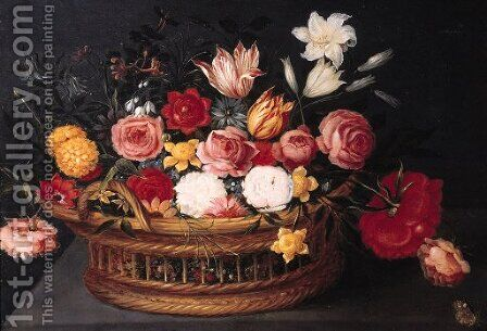 Tulips, roses, lilies, a peony, forget-me-nots, anemone and other flowers with a butterfly in a basket, on a stone ledge by (after) Phillipe De Marlier - Reproduction Oil Painting