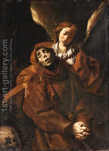 Saint Francis supported by an angel by (after) Pier Francesco Mazzuchelli (see Morazzone) - Reproduction Oil Painting