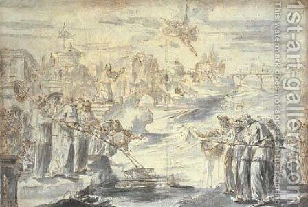 A satire on the election of a pope Groups of Spanish and French cardinals on either side of a river fishing for the papal tiara, with an angel bringi by (after) Pier Leone Ghezzi - Reproduction Oil Painting