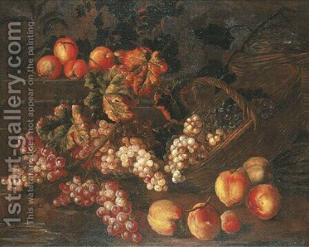 Grapes, peaches and baskets by a stone plinth by (after) Pierre Dupuis - Reproduction Oil Painting