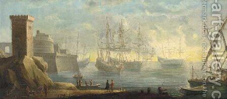 A capriccio of a mediterranean port with men-o'-war anchored before a fort by (after) Pierre Puget - Reproduction Oil Painting