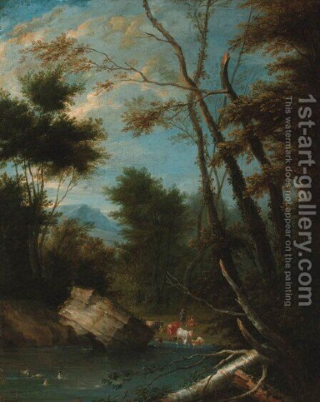 A wooded landscape with shepherds watering cattle and sheep at a pool by (after) Pieter Bout - Reproduction Oil Painting