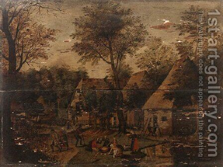 A wooded Landscape with Peasants in a Village by (after) Pieter Breughel II - Reproduction Oil Painting