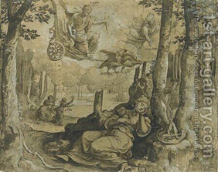 Jupiter and Mercury spying on the sleeping Callisto by (after) Pieter Coecke Van Aelst - Reproduction Oil Painting
