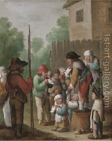 A town crier by (after) Pieter De Bloot - Reproduction Oil Painting