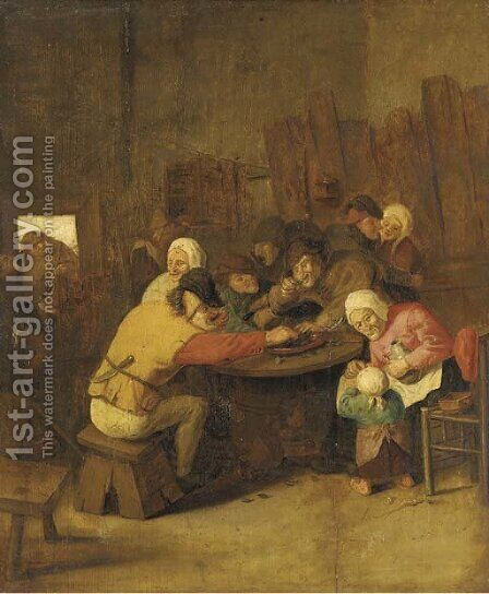 Peasants eating mussels and drinking in a tavern by (after) Pieter De Bloot - Reproduction Oil Painting