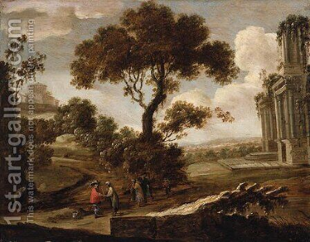A Landscape with a Gentleman having his Fortune told by (after) Pieter Meulener - Reproduction Oil Painting