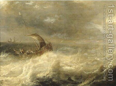 A wijdschip at sea in a gale by (after)  Pieter The Elder Mulier - Reproduction Oil Painting