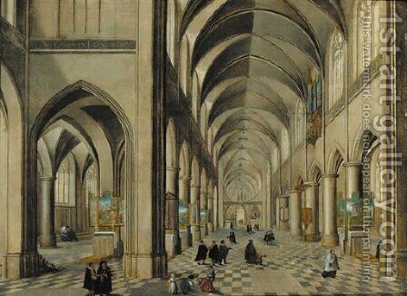 The interior of a Gothic Cathedral with elegant company and other figures by (after) Pieter The Younger Neefs - Reproduction Oil Painting