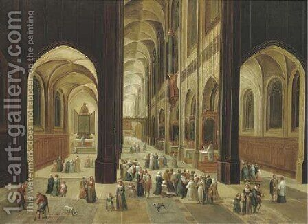 The interior of a gothic church with elegant company by (after) Pieter The Younger Neefs - Reproduction Oil Painting