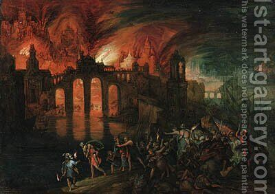Aeneas rescuing his Father from the burning City of Troy by (after) Pieter Schoubroeck - Reproduction Oil Painting