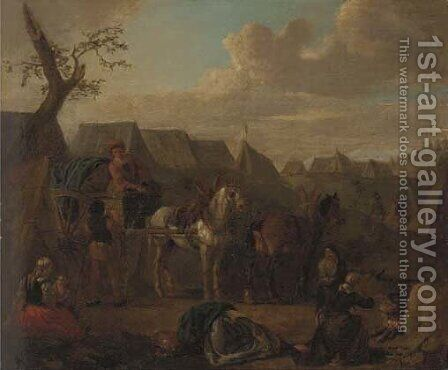 A military encampment by (after) Pieter Van Bloemen - Reproduction Oil Painting
