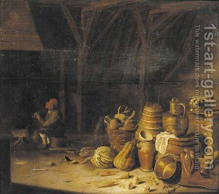 The interior of a barn with a peasant smoking a pipe by a fireside by (after) Pieter Van Steenwyck - Reproduction Oil Painting