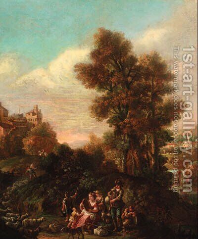 An Italianate landscape with shepherds making music by a river, a hilltop town beyond by (after) Pietro Domenico Oliviero - Reproduction Oil Painting
