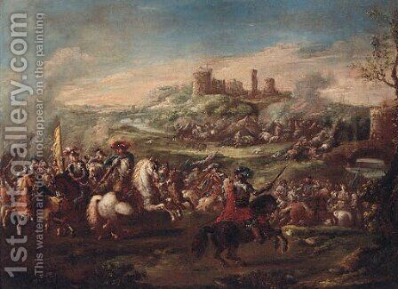 A cavalry battle before a fortified town by (after) Pietro Graziani - Reproduction Oil Painting