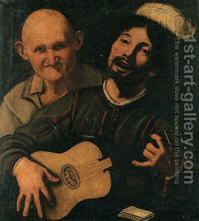 A guitar player and an old man attending by (after) Pietro Paolini - Reproduction Oil Painting