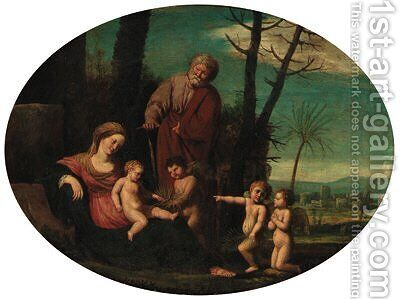 The Rest on the Flight into Egypt by (after) Pietro Paolo Bonzi - Reproduction Oil Painting