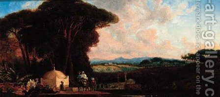 Arab caravan in a landscape by (after) Prosper-Georges-Antoine Marilhat - Reproduction Oil Painting
