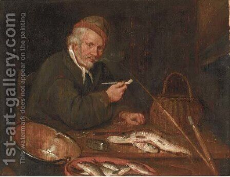 An angler smoking a pipe in an interior by (after)  Quiringh Gerritsz. Van Brekelenkam - Reproduction Oil Painting