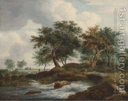Figures resting by a river in a Dutch landscape by (after) Ramsay Richard Reinagle - Reproduction Oil Painting