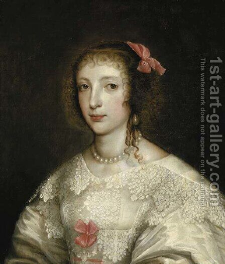 Portrait of Queen Henrietta Maria by (after) Remigius Van Leemput - Reproduction Oil Painting