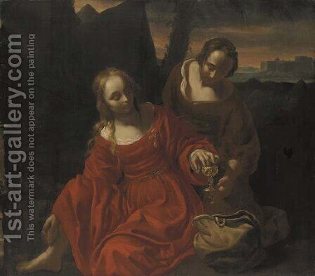 Judith preparing herself to meet Holofernes by (after)  Reyer Van Blommendae - Reproduction Oil Painting