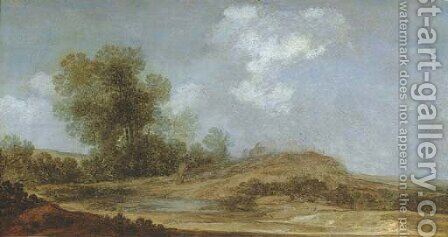 A wooded dune landscape with a shepherd herding his flock near a pool by (after) Reynier Van Der Laeck - Reproduction Oil Painting