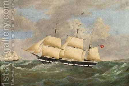 The Hamburg barque Nurn America under reduced sail and running down the coast by (after) Richard B. Spencer - Reproduction Oil Painting