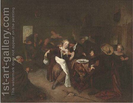 Peasants drinking and merry making in a tavern by (after) Richard Brakenburg - Reproduction Oil Painting