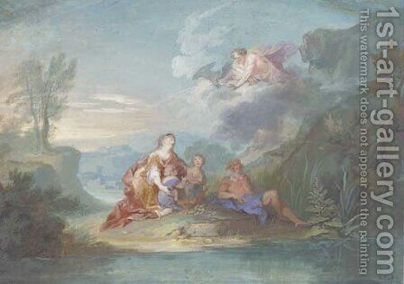 Leda with Castor and Pollux beside Eurotas, Jupiter up above by (after) Richard Van Orley - Reproduction Oil Painting