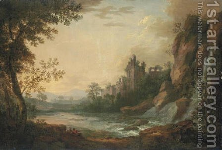 A river landscape with travellers resting on a path, a ruined castle beyond by (after) Robert Carver - Reproduction Oil Painting