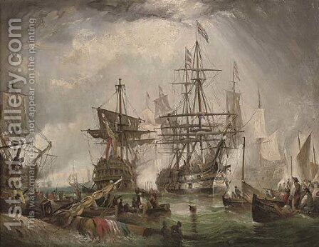 The battle of Camperdown by (after) Robert Ernest Roe - Reproduction Oil Painting