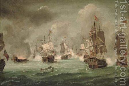 The battle of Cape St. Vincent, 14th February 1797 by (after) Robert Ernest Roe - Reproduction Oil Painting