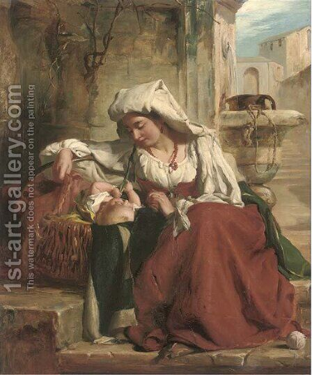 A rest at the well by (after) Robert Gavin - Reproduction Oil Painting