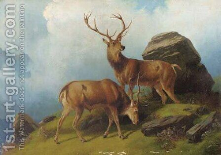 Stags on a mountain by (after) Robert Henry Roe - Reproduction Oil Painting