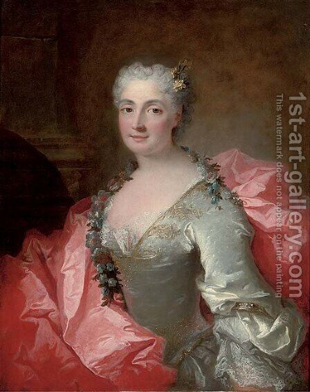 Portrait of a lady said to be Duchesse de Chateauroux by (after) Robert Tournieres - Reproduction Oil Painting