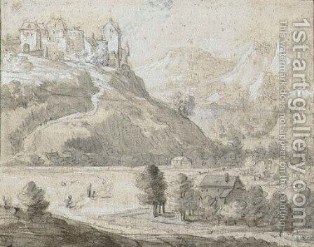 A castle on a hill in a mountainous landscape by (after) Roelandt Roghman - Reproduction Oil Painting