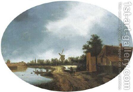 A river landscape with travellers on a path, a windmill beyond by (after) Roelof Van Vries - Reproduction Oil Painting