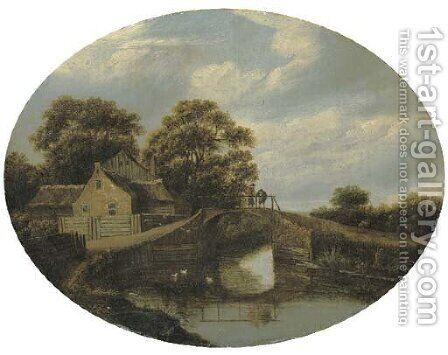 A wooded river landscape wih figures on a bridge near a house by (after) Roelof Van Vries - Reproduction Oil Painting