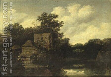A wooded river landscape with a ruined tower and cottages by (after) Roelof Van Vries - Reproduction Oil Painting