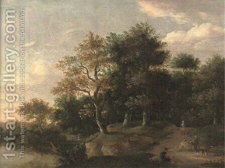 A wooded river landscape with figures on a track by (after) Roelof Van Vries - Reproduction Oil Painting