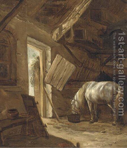 A barn interior with a horse feeding by (after) Salomon Rombouts - Reproduction Oil Painting