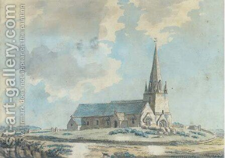 The veiled church on the Island of Guernsey by (after) Samuel Hieronymus Grimm - Reproduction Oil Painting