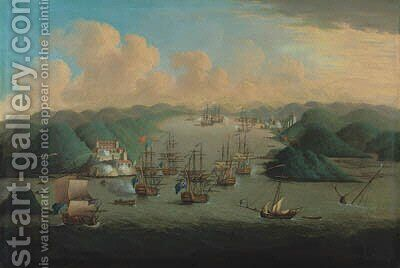 The Taking of Porto Bello, 23rd November 1739 by (after) Samuel Scott - Reproduction Oil Painting