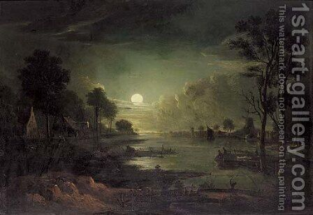 A moonlit river estuary by (after) Sebastian Pether - Reproduction Oil Painting