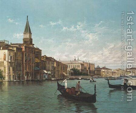 Sull' Canale Grande, Venezia by (after) Sebastiano Novelli - Reproduction Oil Painting