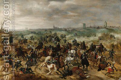 The Battle between Officers Braut and Gerard Abrahamsz., called Lekkerbeetje, at Vught, 5 February 1600 by (after) Sebastien Vrancx - Reproduction Oil Painting