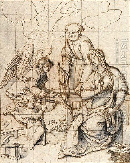 The Holy Family In The Carpenter'S Shop Attended By An Angel by (after) Sigismondo Coccapani - Reproduction Oil Painting